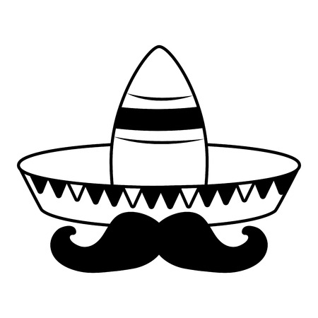hat mustache mexico cinco de mayo vector illustration