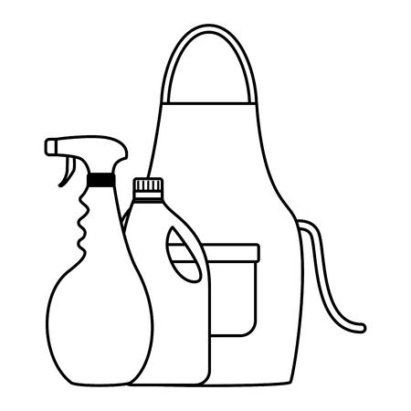 apron spray and detergent spring cleaning tools vector illustration