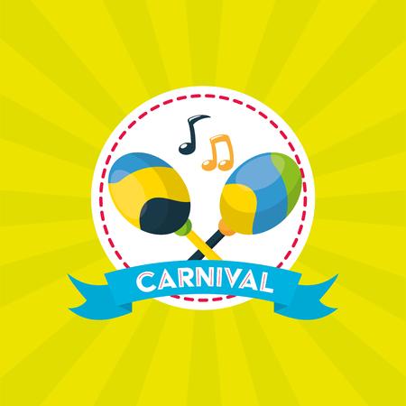 maracas music brazil carnival festival vector illustration Illustration
