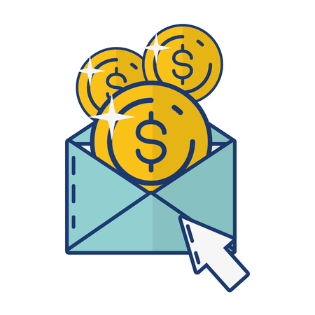 mail coins click online payment vector illustration