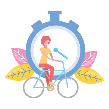 woman riding bike stopwatch on white background vector illustration Stock Vector - 122709277