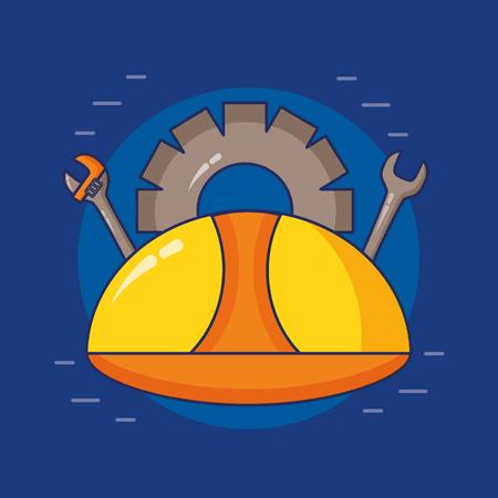 helmet spanner gear tool happy labour day vector illustration