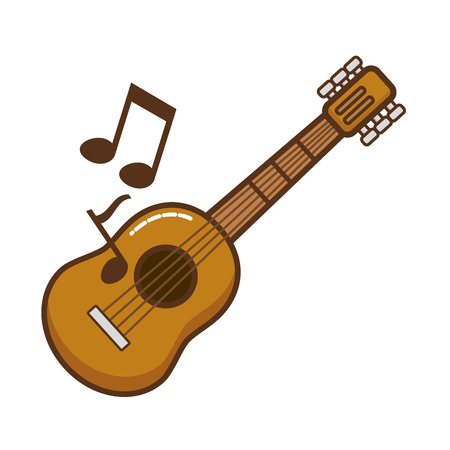 guitar with musical notes isolated icon vector illustration design