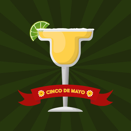 tequila cocktail mexico cinco de mayo emblem vector illustration