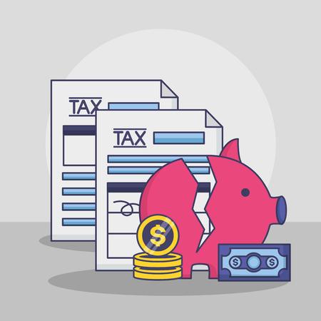 broken piggy bank coins documents tax payment vector illustration