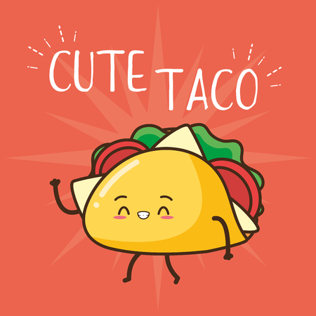 kawaii cute taco fast food cartoon vector illustration Stock Illustratie