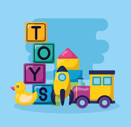 kids toys cubes rocket train duck vector illustration