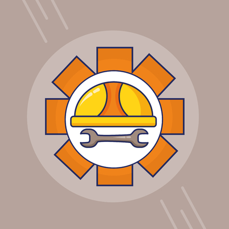 helmet wrench gear happy labour day vector illustration