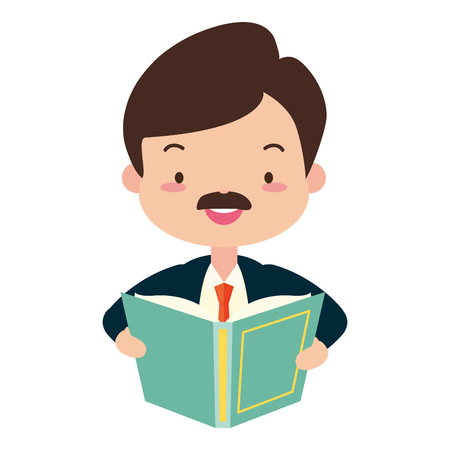 man reading textbook world book day vector illustration design Stockfoto - 122709352