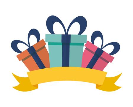 three gift boxes surprise vector illustration design