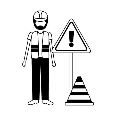 construction worker traffic caution sign cone vector illustration Foto de archivo - 122709377