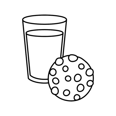 milk and cookie fast food white background vector illustration Çizim