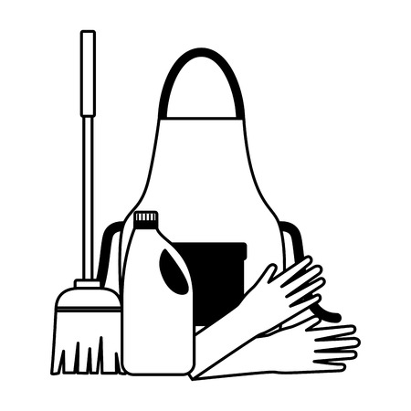 apron gloves broom liquid detergent spring cleaning tools vector illustration