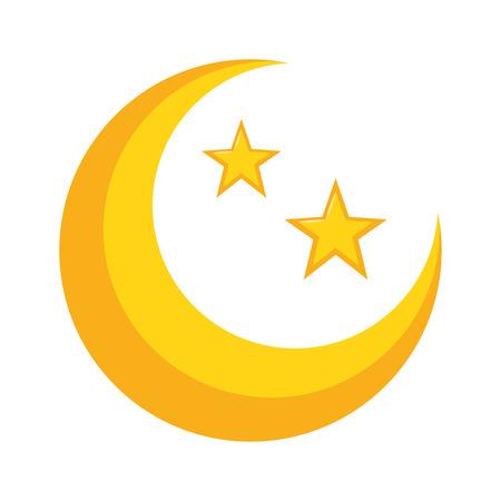 Halbmond und Sterne auf weißem Hintergrundvektorillustrationsdesign