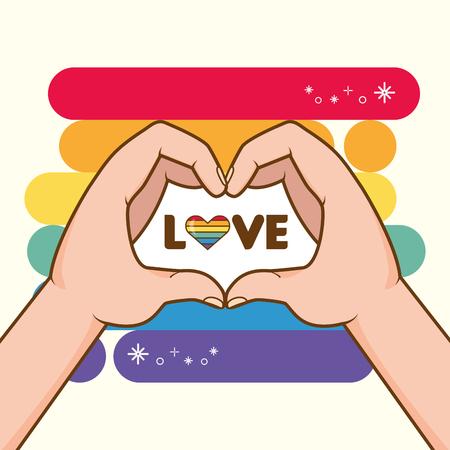 Manos con colores del arco iris forma corazón orgullo amor ilustración vectorial Ilustración de vector