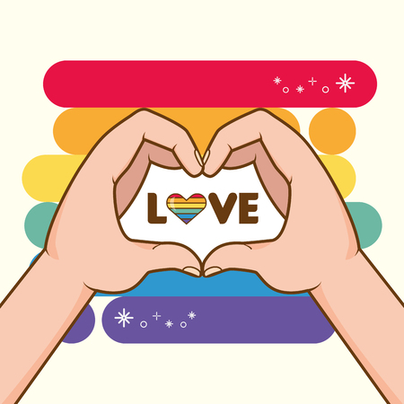 hands with rainbow colors shape heart lgbt pride love vector illustration