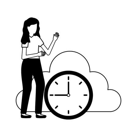 woman cloud storage clock data vector illustration
