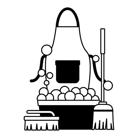 washing bucket apron broom brush spring cleaning tools vector illustration Stok Fotoğraf - 122709410