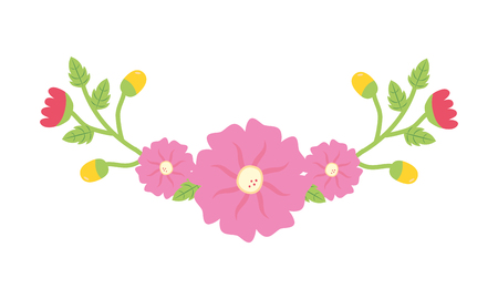 flowers leaves decoration on white background vector illustration Ilustrace