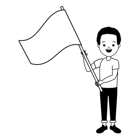 jeune homme, à, drapeau, vecteur, illustration, conception