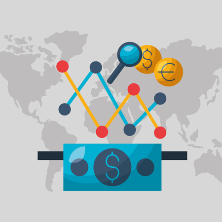 world banknote chart analysis financial stock market vector illustration