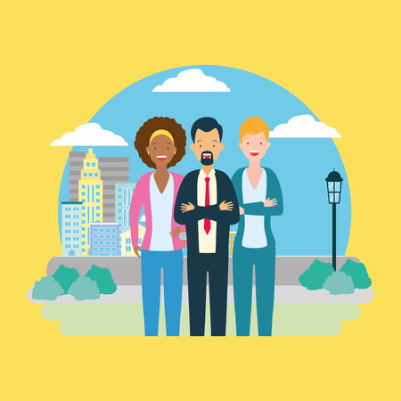 diversity man and woman characters cityscape park background vector illustration 向量圖像