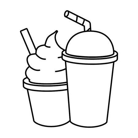 ice cream soda food outline design vector illustration Stock Illustratie