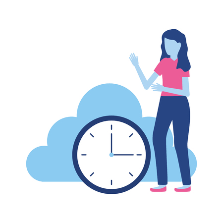 woman cloud storage clock data vector illustration