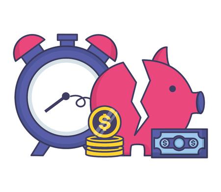 broken piggy bank money clock tax payment vector illustration