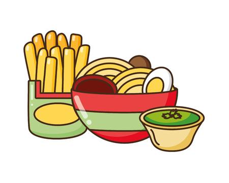 soup ramen noodles french fries sauce fast food vector illustration Ilustração