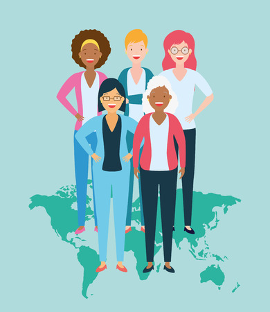 diversity women people world vector illustration design  イラスト・ベクター素材
