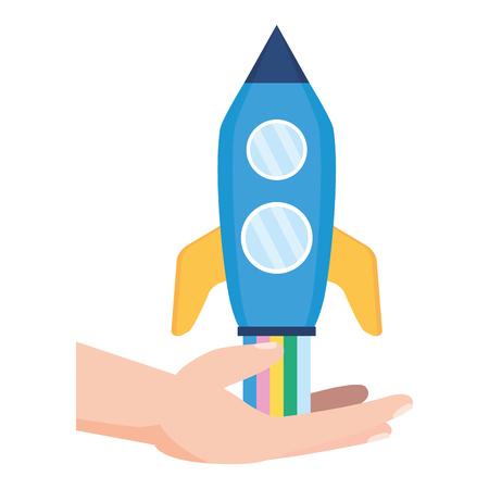 hand with rocket startup white background vector illustration Ilustrace