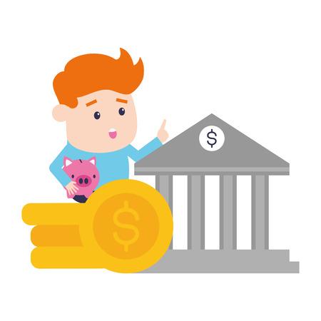 uomo d'affari monete banca soldi online banking illustrazione vettoriale Vettoriali
