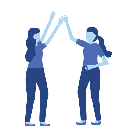 celebrating women characters on white background vector illustration