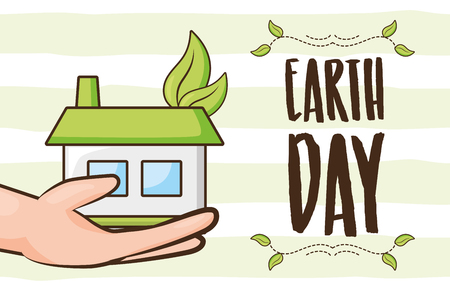 hand with house ecology earth day card vector illustration