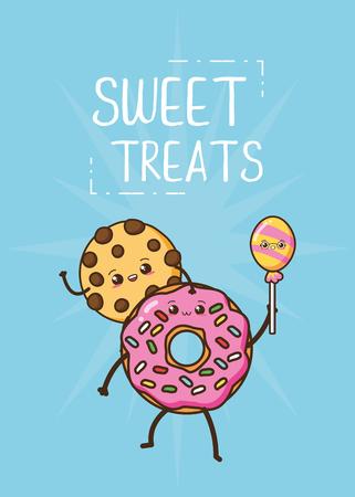 kawaii cookie and donut fast food cartoon vector illustration