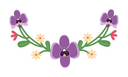 décoration de feuilles de fleurs sur fond blanc vector illustration