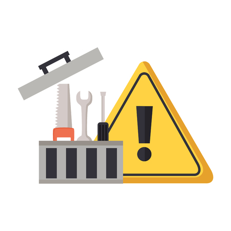 toolbox repair construction warning sign vector illustration Çizim