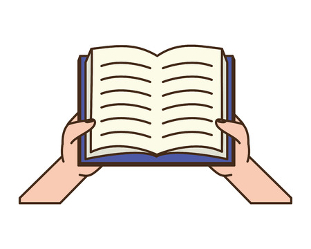 hhands with open book - world book day vector illustration 版權商用圖片 - 122709569