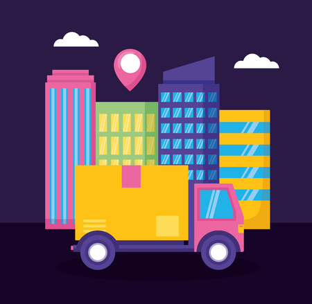 truck cardboard box destination city fast delivery vector illustration