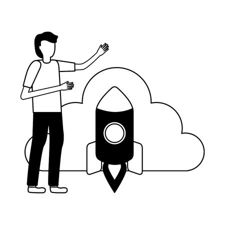 businessman cloud storage rocket data vector illustration