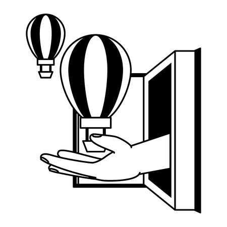 open book hot air balloon - world book day vector illustration Ilustração