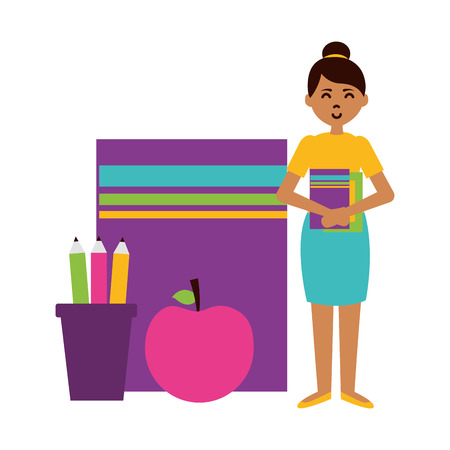woman book apple pencils teachers day card vector illustration Ilustrace