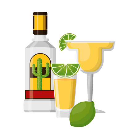 tequila shot cocktail lemon beverage vector illustration