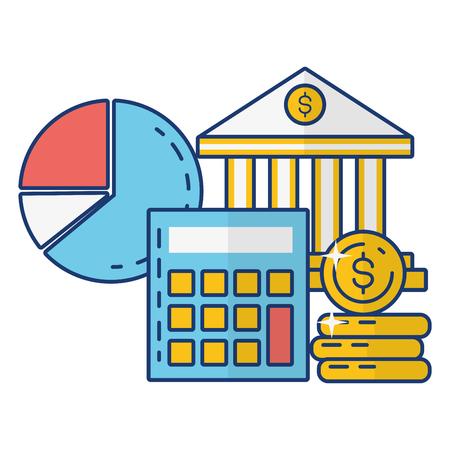 bank calculator money report bank online payment vector illustration Ilustração