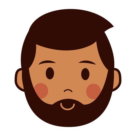 bearded man character on white background vector illustration