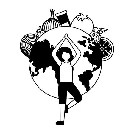 woman food yoga world health day vector illustration 向量圖像