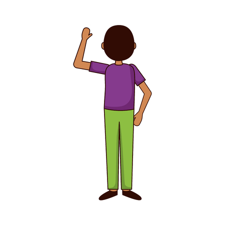 man hand up back view vector illustration  イラスト・ベクター素材
