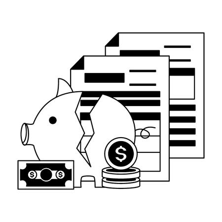 broken piggy bank coins documents tax payment vector illustration Vettoriali