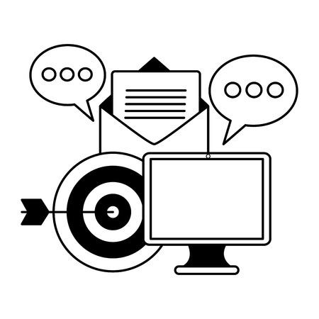 computer email target message social media vector illustration Vektorové ilustrace